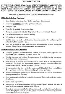 408-02 Fire Safety Notice Combustible